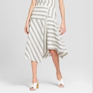 Striped Flowy Asymmetric Midi Skirt -74-190